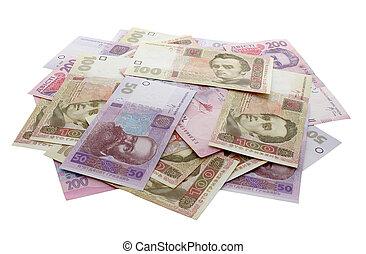 heap of Ukrainian banknotes