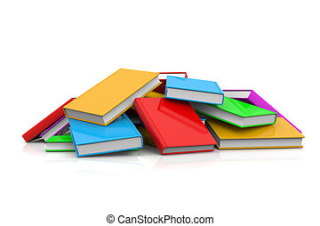 Heap of Untidy Colored Books on White Background