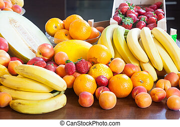 Heap of various fresh fruits