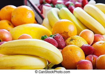 Heap of various fruits