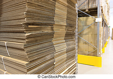 Heap of a wavy corrugated for boxes