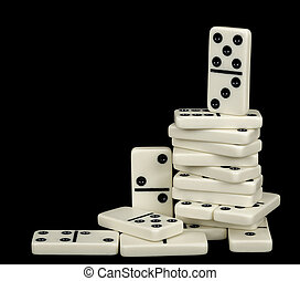 Heap of white dominoes isolated on black