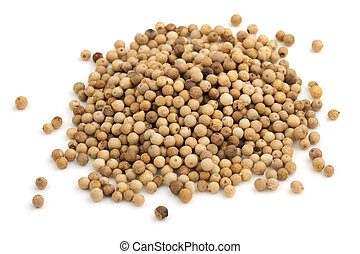 heap of white peppercorns isolated on white background