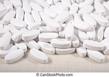 Heap of white pills
