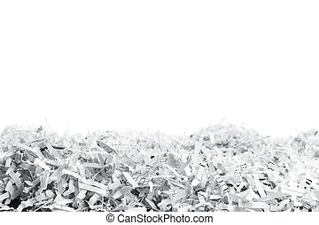 Heap of white shredded papers - Big heap of white shredded...