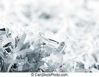 Heap of white shredded papers - Closeup picture of big heap...