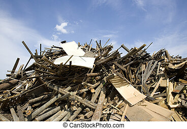 Wood Garbage - Heap of Wood Garbage in front of blue sky