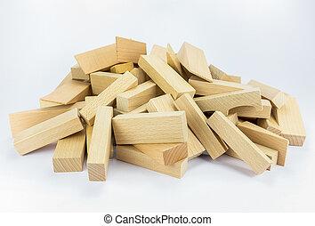 Heap of wooden building blocks
