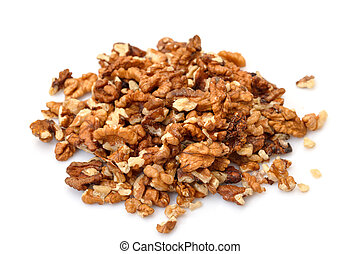 Heap Purified Walnuts on white background
