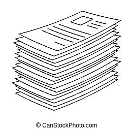 heap, stack of paper document file web icon vector symbol ...