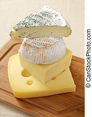 Heaps of cheese - A pile of European cheeses, from the top,...