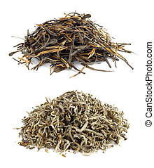 Heaps of dried tea isolated on white background