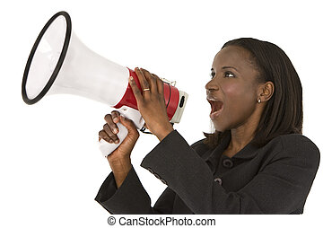 An African American businesswoman shouting through a megaphone