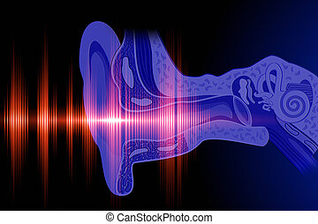 Hear the sound wave - Conceptual image about human hearing