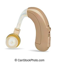 Hearing aid behind the ear. Sound amplifier for patients with hearing loss. Treatment and prosthetics in otolaryngology. Medicine and health. Realistic object on  white background. Vector