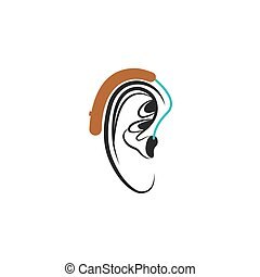 Hearing aid ear icon, medical vector illustration about hearing loss in humans