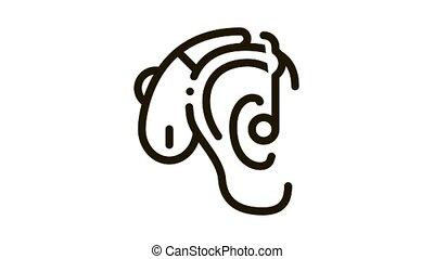 Hearing Aid Icon Animation. black Hearing Aid animated icon on white background