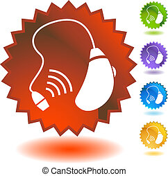 hearing aid icon badge isolated on a white background.