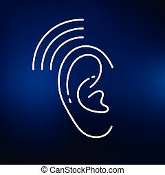 Hearing aid icon on blue background