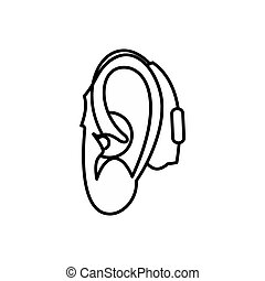 Hearing aid icon, outline style