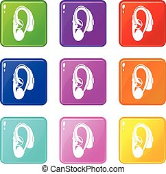 Hearing aid icons 9 set