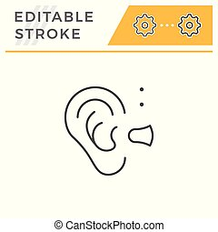 Hearing aid line icon isolated on white. Editable stroke....