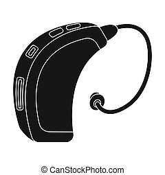 Hearing aid. Old age single icon in black style vector symbol stock illustration .