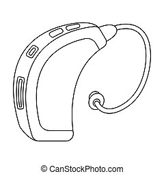 Hearing aid. Old age single icon in outline style vector symbol stock illustration .