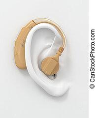 Hearing aid on white ear. Three-dimensional image. 3d