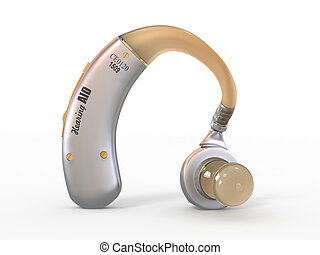 Hearing aid on white background. 3d - Hearing aid on white...