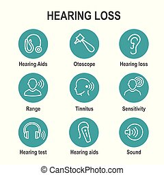 Hearing Aid or loss with Sound Wave Images Set - Hearing Aid...