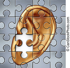 Hearing impairment and human ear symbol representing a medical listening condition that results in a deafness.