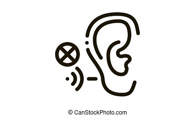 Hearing Impairment Icon Animation. black Hearing Impairment animated icon on white background