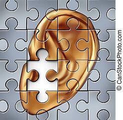 Hearing Impairment - Hearing impairment and human ear symbol...