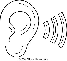 Hearing line icon. - Hearing, listen by ear vector line icon...
