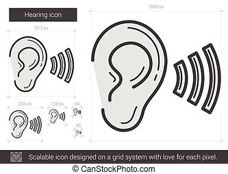 Hearing line icon.