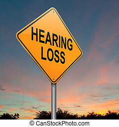 Illustration depicting a roadsign with a hearing loss concept. Sunset sky background.