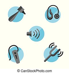 Hearing loss solid icon set with Otoscope, tuning fork and hearing aids