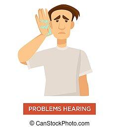 Hearing problem deaf man ear dysfunction treatment - Deaf...