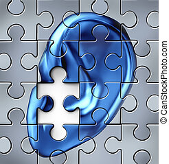 Hearing impairment and human ear symbol on a jigsaw puzzle representing a medical listening condition that results in a deafness.