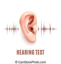 Hearing test. Ear on white background. - Hearing test....
