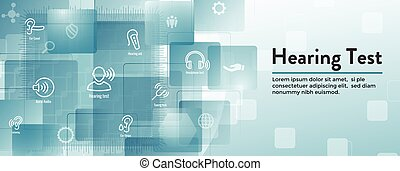 Hearing Test w Hearing Aid or loss / Sound Wave Images Set...