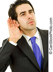 hearing - young business man portrait in white background