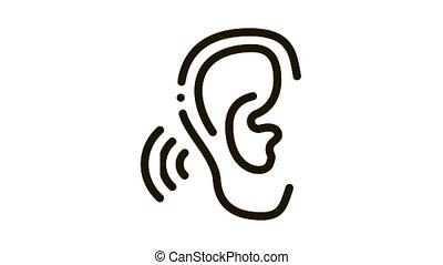 Hears Sound Icon Animation. black Hears Sound animated icon on white background