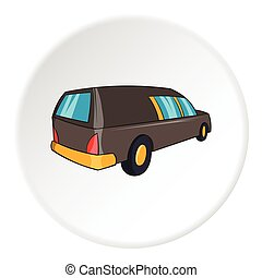 Hearse icon, cartoon style - Hearse icon in cartoon style...
