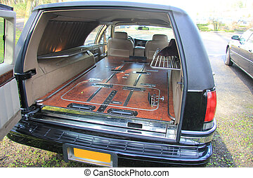Hearse interior - Interior of a funeral car or hearse:...