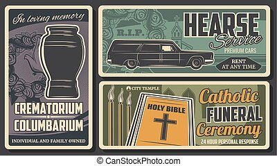 Hearse rent, cremation urn. Bible funeral ceremony