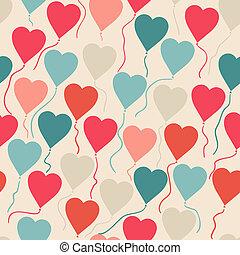 heart., תבנית, לטוס, seamless, עצב, בלונים