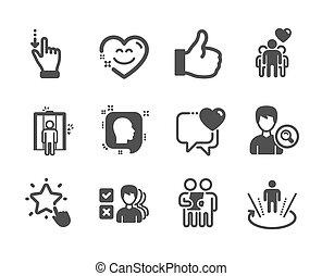 heart., セット, touchscreen, アイコン, のように, ベクトル, 人々, そのような物, ジェスチャー
