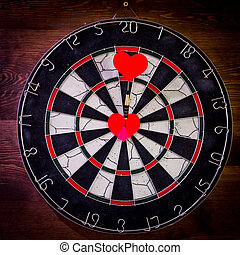 heart., ターゲット, 矢, さっと動く, 赤, 中心